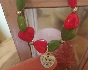 Bracelet beads with hearts and charm