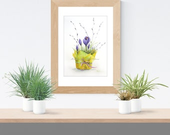 Crocus original painting/watercolor painting/Easter painting/spring flowers/Easter decor/picture for Easter/spring painting/art flowers