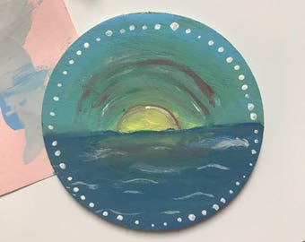 Beach Waves Ocean Magnet Circular