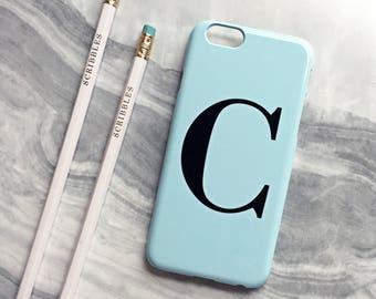 Pastel blue alphabet phone case - Monogram phone case, initial iPhone 8 Plus case, Samsung Galaxy S8 PLUS, iPhone 8 case, iPhone 7 Plus Case