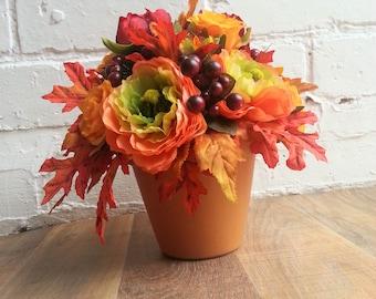 Artificial Autumnal Flower Plant Pot Arrangement
