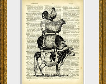 Stack of Farm Animals Dictionary Print - FARM ANIMAL PYRAMID - antique dictionary page with a vintage animal illustration - fun wall decor