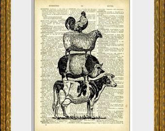 Pile de page dictionnaire antique ferme animaux dictionnaire Print - FARM ANIMAL pyramide - avec une illustration animale vintage - divertissement décoration murale
