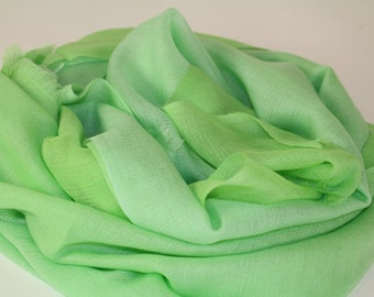 Woven light and soft green ombre cashmere stole/shawl FREE Shipping
