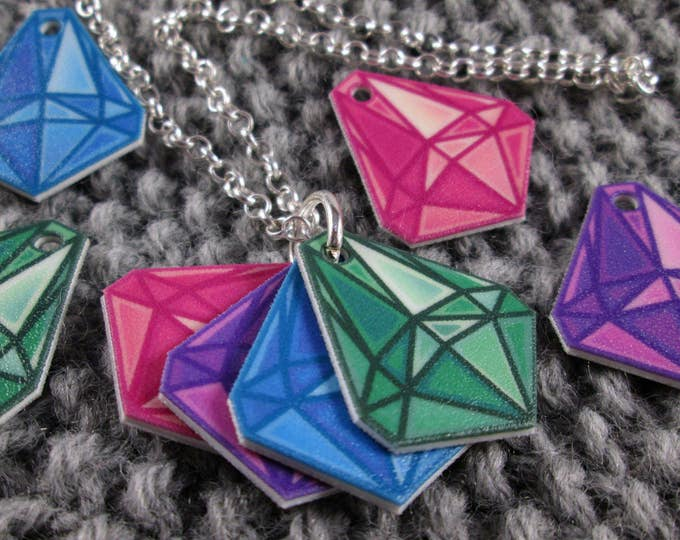 Mood Gem Neclace - Green Blue Purple Pink - Communication Necklace - Silver Rolo Chain