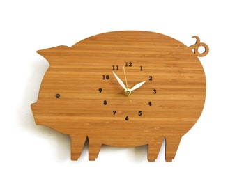 Farm style pig clock with numbers, kitchen wall clock