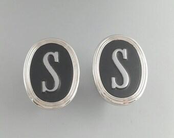 Initial Cufflinks Letter S Cufflinks Monogram S Cuff Links Men's Jewelry Accessories Gifts