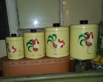 Vintage Ransburg Rooster Canister Set