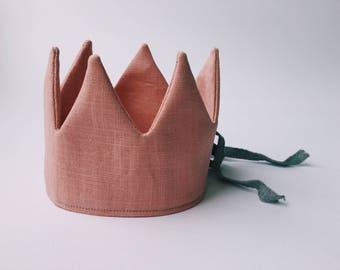 Linen in old rose crown - kids crown - Reversible crown - birthday crown - pretend play - crown toy - crown in pink