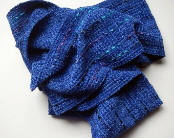 Blueberry chenille handwoven 6 by 76 inches