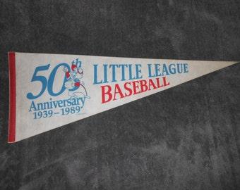 Vintage Collectible 50th Anniversary Little League Baseball Flag Souvenir Felt Pennant