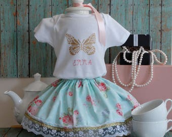 Birthday outfit,Personalized,1st birthday dress,Second,Butterfly,Pink,Gold,Cake smash, Photo Prop,Tea party,Floral,Lace skirt,Shabby chic