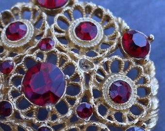 VINTAGE FILAGREE BROOCH, Ruby Red Rhinestones, Dome Shaped , Floral Motif