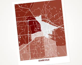 Starkville Map Print.  Choose the Colors and Size.  Mississippi State Bulldogs Gift.  Local Wall Art.