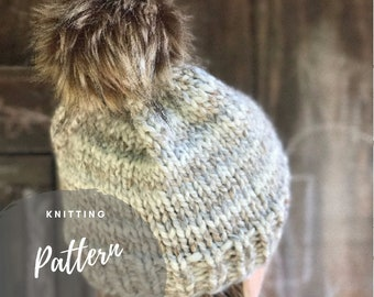 Knitting Pattern for Women, Easy Knitting Tutorial, Slouch Hat Pattern, Bulky Toque Tutorial, Essential Beanie Pattern, Basic Hat Pattern