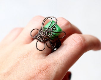 Green wire ring Boho Wire Wrapped ring Green stone ring Boho Wire ring Bohemian ring Boho chic ring Bohemian jewelry Boho jewelry Boho ring