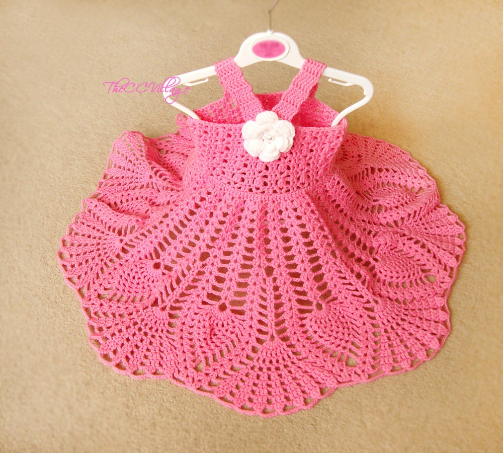 Pink crochet baby dress handmade girl dress white flower zoom bankloansurffo Choice Image