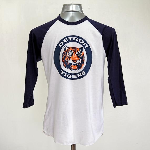 Detroit Tigers Raglan Shirt Logo triblend 3/4 sleeve unisex 1984 World Series Tigers Fan Gift USA made Gift For Dad Opening Day 2018 N3kWT
