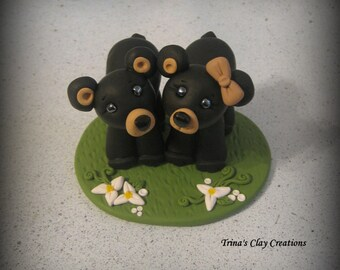 Wedding Cake Topper, Custom Cake Topper, Black Bear, Cake Topper, Bear, Personalized, Polymer Clay, Keepsake