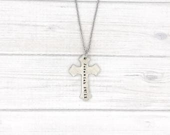 Hand stamped Personalized cast pewter cross pendant necklace - Favorite scripture - Favorite bible quote necklace