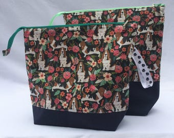 REDUCED PRICE SALE Basset Hound knitting or crocheting project bag