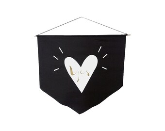 Yes - Black Banner flag Wall flag Gold White Vinyl Print Inspirational decor Motivational design Minimalist design
