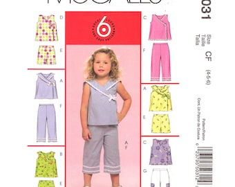 Girls Sewing Pattern McCalls 5031 Easy Wrap Top Sailor Collar, Pull-On Short, Capri Pants Girls Summer Pattern Size 4 5 6 UNCUT