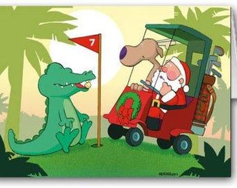 Santa and Aligator Golf them Christmas card- 18 Cards & Envelopes - KX107