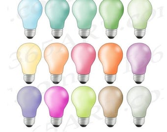 50% OFF Light bulb clipart, light bulb clip art, lightbulbs, bulbs, Rainbow icons, planner stickers, lightbulb PNG, Commercial, digital