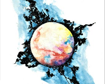 WaterColor Painting - Planet Tempesta