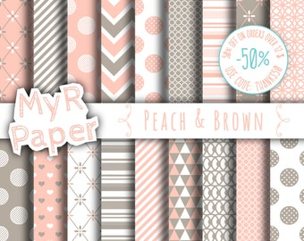 "Digital paper: ""Peach & Brown"" paper pack and backgrounds for mother's day, valentine's day, wedding, love with taupe, light pink, beige"