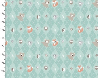 Animals on Argyle Turquoise from 3 Wishes Fabric's Little Forest Collection