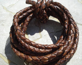Distressed Brown Round Leather Braided Cord 5 mm Cording 1 yard Bolo
