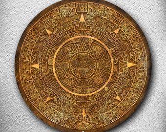 "Aztec Mayan Calendar 14"" Round Metal Sign, available in three colors  MEM6400"