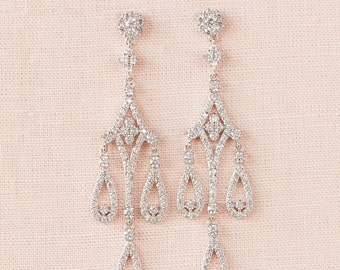 Long Crystal Bridal Earrings, Long Wedding Earrings, Chandelier Bridal Earrings, Swarovski,  Sienna Bridal Earrings