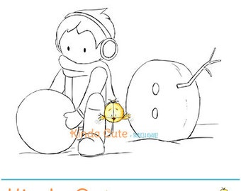Boy building a snowman (black/white only). Christmas Digital Stamp. Winter.