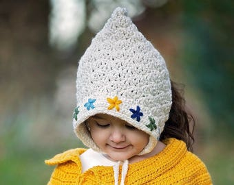 Embroidered Pixie Bonnet/ Pixie Bonnet/ Pom Pom Pixie Bonnet/ Girls Bonnet/ Girls Hat/ Girls Winter Hat/