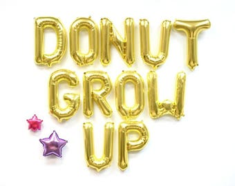 """DONUT GROW UP 16"""" Gold Letter Balloons - Birthday Balloons"""