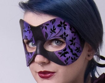 Masquerade Mask in Purple and Black  - victorian flower mask