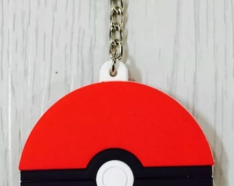 Silicone Pokemon Red and White PokeBall Keychain, Backpack Charm