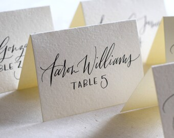 Place Card Calligraphy, Cream Place Cards