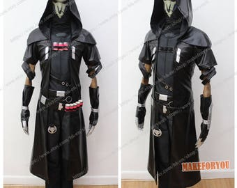 Men's PU leather Over OW Reaper Cosplay Costume free mask