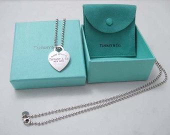 Large Sterling Silver Return to Tiffany & Co. Heart Tag Pendant Necklace 22 In.