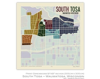 South Tosa, Wauwatosa Wisconsin Neighborhood Art Map Print (Milwaukee County) by James Steeno