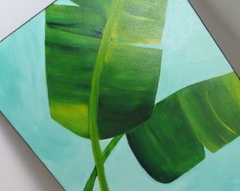 Original Painting 11 x 14 Tropical Banana Leaves Aqua Turquoise Acrylic Painting Cottage Decor