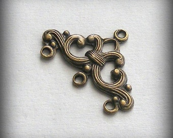 Oxidized Brass Stampings 3 Ring Connectors 24x16mm (2 pcs) B220-VJS S-9058