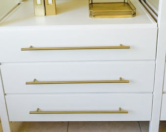 brass knobs and brass drawer pulls lucite by forgehardwarestudio