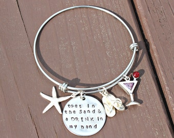 Adjustable Bangle-toes in the Sand & a DRINK in my hand-Stainless Steel and Sterling with a Cubic Zirconia drink charm - Beach Jewelry