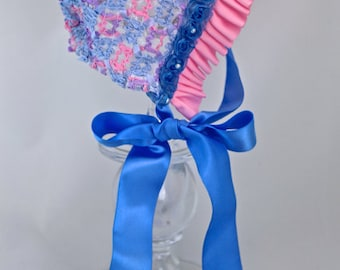 The Kelly Ann Pink and Blue Baby Girl Easter Bonnet