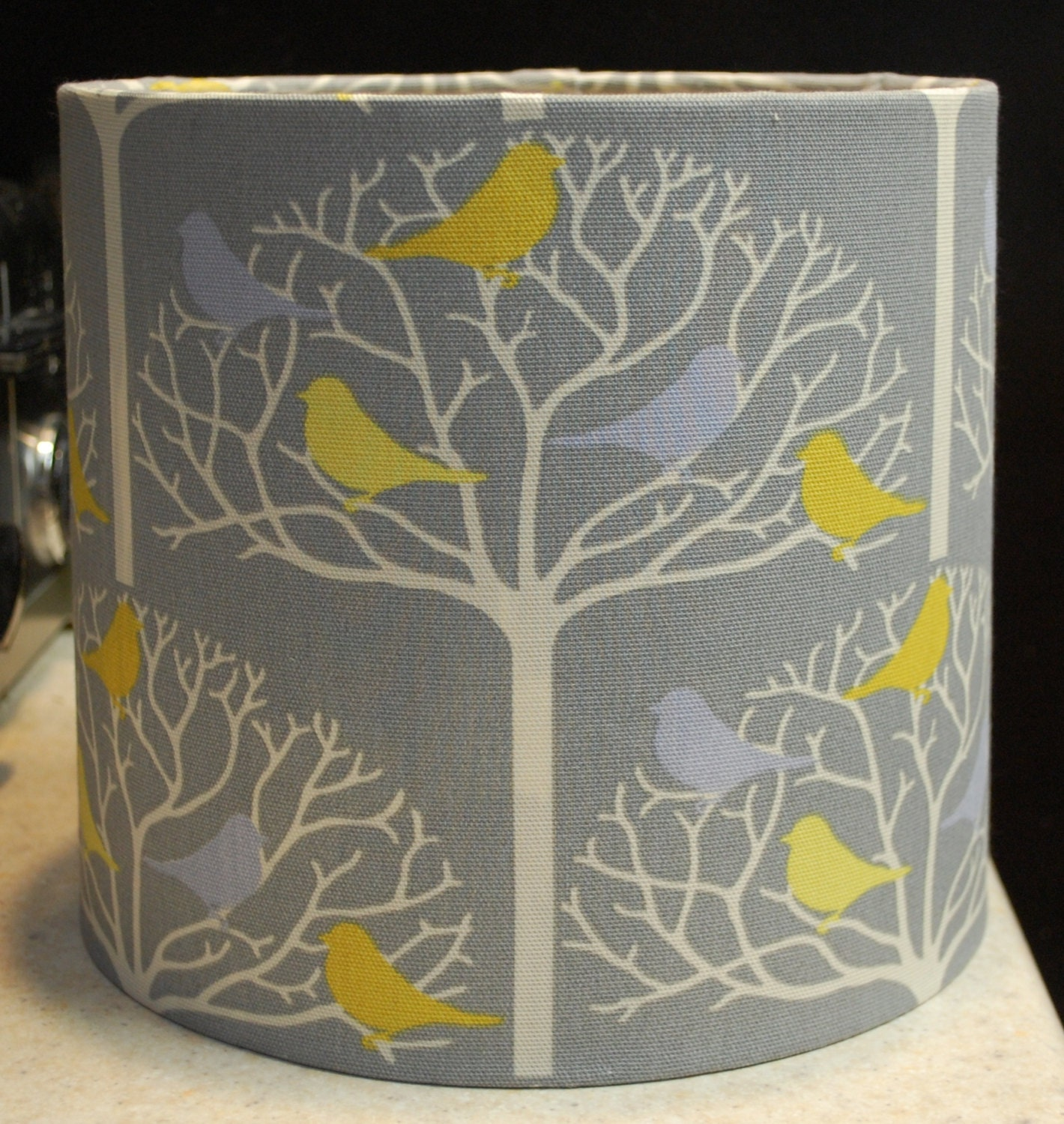 Custom gray white yellow bird tree lamp shade lampshade zoom mozeypictures Choice Image